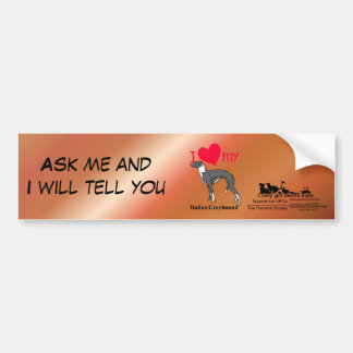 Italian Greyhound (Iggy) Bumper Sticker