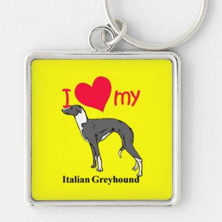 Italian Greyhound (Iggy) Silver-Colored Square Keychain