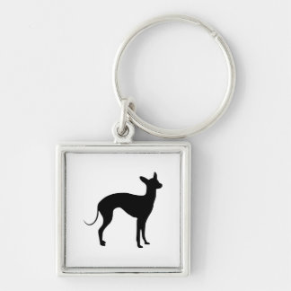 Italian Greyhound Silver-Colored Square Keychain