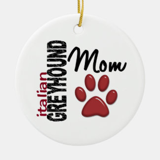 Italian Greyhound Mom 2 Double-Sided Ceramic Round Christmas Ornament