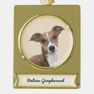 Italian Greyhound Painting - Cute Original Dog Art Gold Plated Banner Ornament