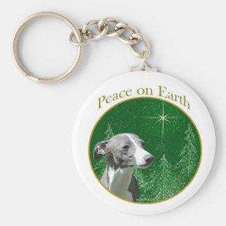 Italian Greyhound Peace Basic Round Button Keychain