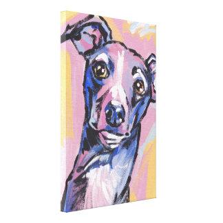Italian Greyhound Pop Dog Art on Wrapped Canvas Canvas Print