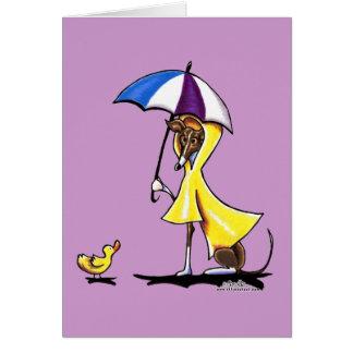 Italian Greyhound Raincoat Card
