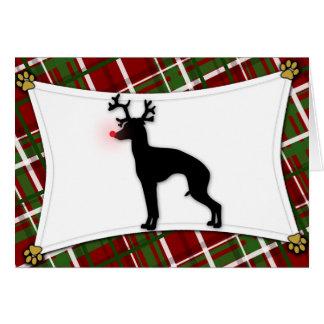 Italian Greyhound Reindeer Christmas Card