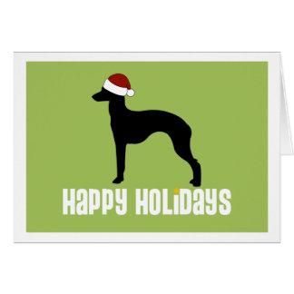 Italian Greyhound Santa Hat Greeting Card