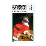 Italian Greyhound Santa Postage Stamp