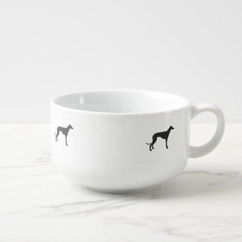 Italian Greyhound silhouette in black Soup Mug