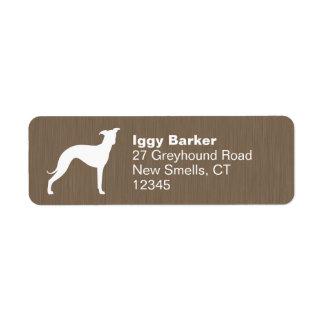Italian Greyhound Silhouette Custom Return Address Labels