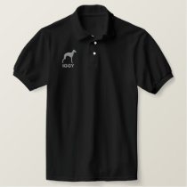 Italian Greyhound Silhouette with Custom Text Embroidered Polo Shirt