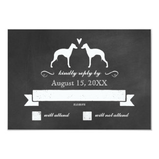 Italian Greyhound Silhouettes Wedding Reply RSVP Card
