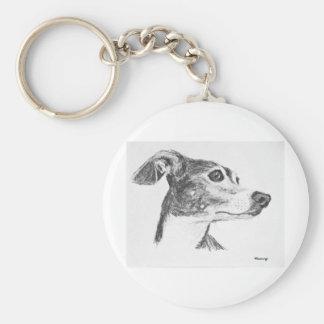Italian Greyhound Sketch Basic Round Button Keychain