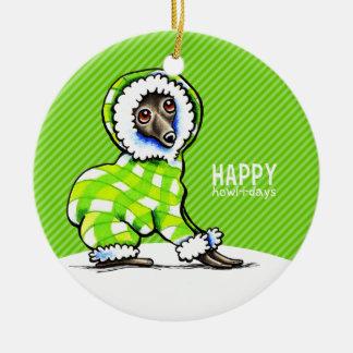 Italian Greyhound Snowsuit Christmas Modern Green Ceramic Ornament