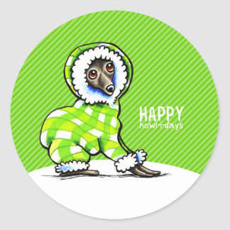 Italian Greyhound Snowsuit Christmas Modern Green Classic Round Sticker