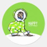 Italian Greyhound Snowsuit Christmas Modern Green Round Sticker