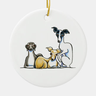 Italian Greyhound Trio Ceramic Ornament