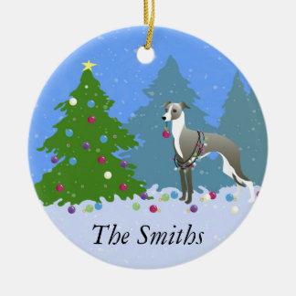 Italian Greyhound Whippet Decorating Christmas Tre Ceramic Ornament