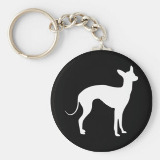 Italian Greyhound White on Black Keychain