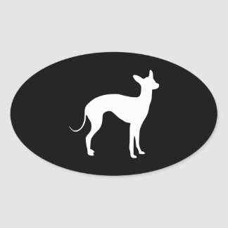 Italian Greyhound White on Black Oval Sticker