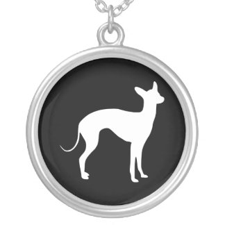 Italian Greyhound White on Black Silver Plated Necklace