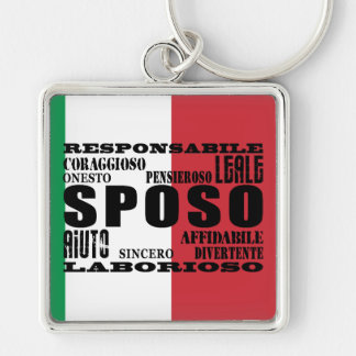 Italian Grooms : Qualities Silver-Colored Square Keychain