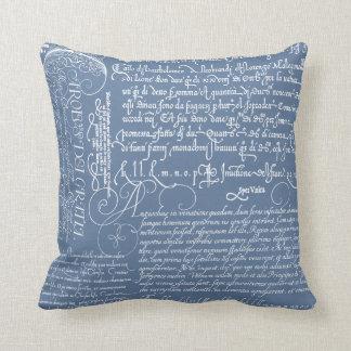 Italian Handwriting Calligraphy Vintage Art Pillow