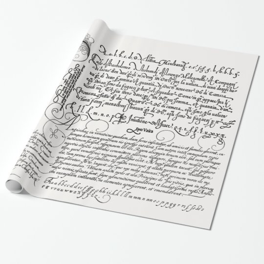 Italian Handwriting Calligraphy Vintage Art Wrapping Paper