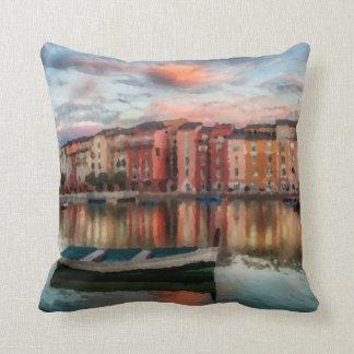 Italian Harbor Sunset Throw Pillow