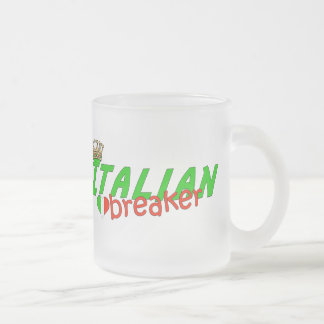 Italian Heart Breaker With Crown 10 Oz Frosted Glass Coffee Mug