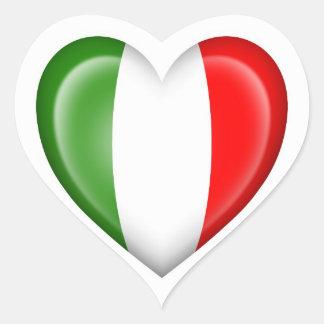 Italian Heart Flag on White Heart Sticker