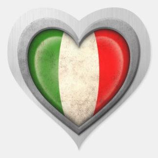 Italian Heart Flag Stainless Steel Effect Heart Sticker