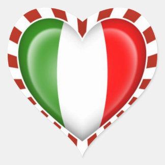 Italian Heart Flag with Star Burst Heart Sticker