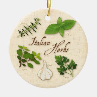 Italian Herbs, Basil, Oregano, Parsley, Garlic Ceramic Ornament