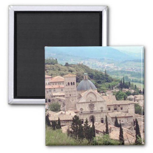 Italian Hillside Village and Valley View 2 Inch Square Magnet