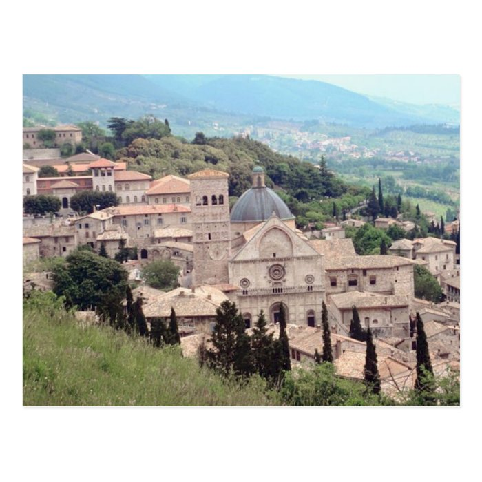 Italian Hillside Village and Valley View Postcard