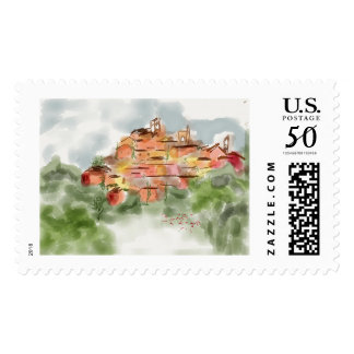Italian hilltown postage stamp