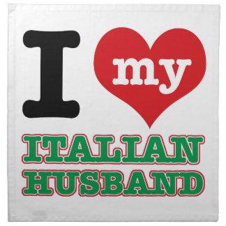 Italian I heart designs Cloth Napkins