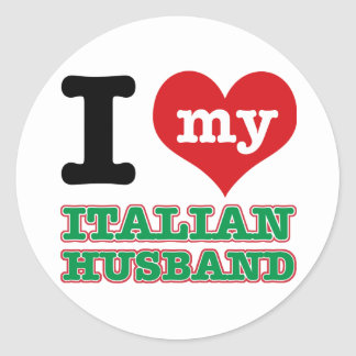 Italian I heart designs Round Stickers