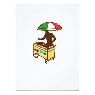 "Italian Ice Push Cart Retro 5.5"" X 7.5"" Invitation Card"