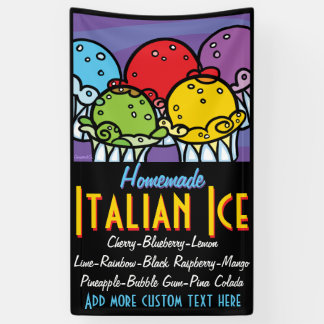 Italian Ice Shaved Ice Customizable Promotional Banner