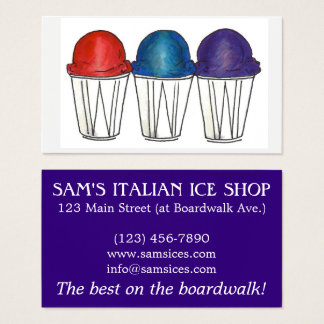 Italian Ice Sno Cone Shaved Ice Food Snocone Beach Business Card