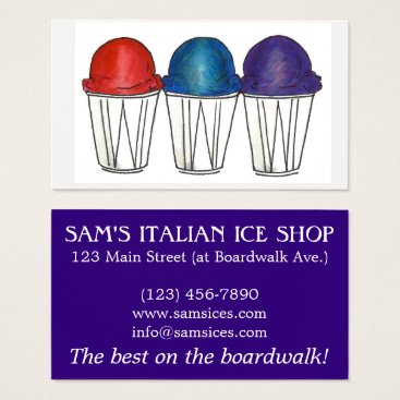 Professional Business Italian Ice Sno Cone Shaved Ice Food Snocone Beach Business Card
