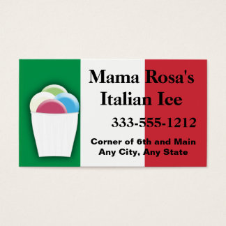 Italian Ice Vendor or Shop with Flag colors Business Card