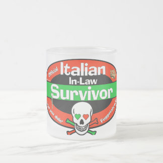 Italian In-Law Survivor 10 Oz Frosted Glass Coffee Mug