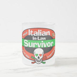 Italian In-Law Survivor Frosted Glass Coffee Mug