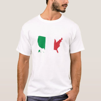 Italian Italy flag in USA united states of America T-Shirt