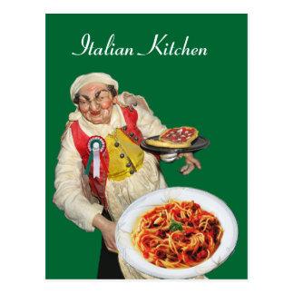 ITALIAN KITCHEN Green Recipe Postcard