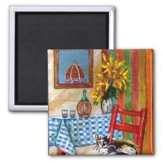 ITALIAN KITCHEN IN FLORENCE 2 INCH SQUARE MAGNET