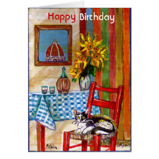 ITALIAN KITCHEN IN FLORENCE / Happy Birthday Greeting Card