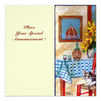 ITALIAN KITCHEN IN FLORENCE, Red Blue Custom Invitations